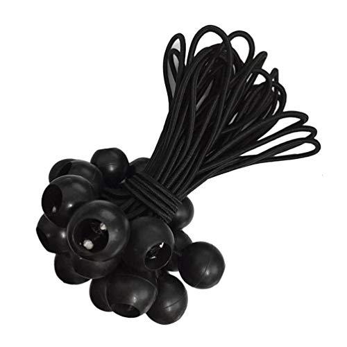Voarge 25 tensores de lonas, para tiendas de campaña, tensores de goma con bola, lonas, carteles, carteles publicitarios, lonas de construcción, etc. (20 cm), color negro