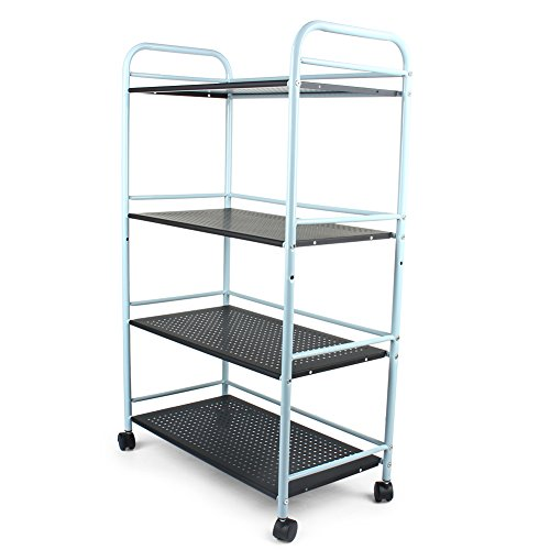 Salon Trolley, 4 Tier Steel Storage Rolling Trolley Cart Tea Serving Microwave Oven Tray with 4 Wheels for Home Kitchen Office, 60 × 32 × 100 cm