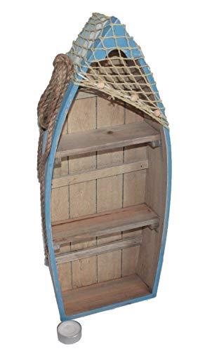 Asia Art Factory AAF Nommel®, Boot Regal 48 cm x 19 cm x 7 cm, Kiefernholz, Maritim Dekor im Shabby Look, Nr. 014