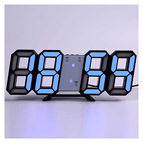 SPFCJL LED Digital Reloj de Pared Alarma Fecha Temperatura Automático Retroiluminación Mesa Mesa Desktop Decoración del hogar Soporte Soporte Relojes de suspensión (Color : Wall Clock 9)
