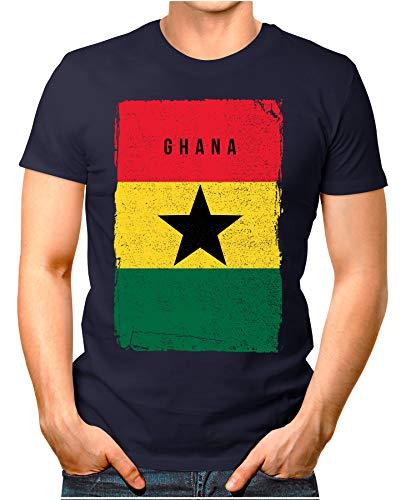 OM3® - Ghana-Flag-Vintage - Herren T-Shirt | Afrika Flagge Fussball Soccer Fanshirt Sport Trikot | Navy XL
