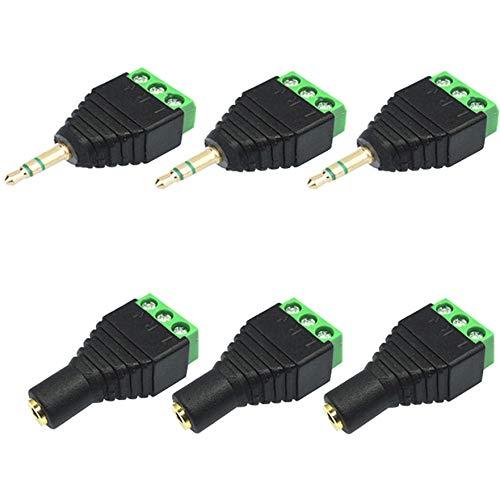 Greluma 6 Pezzi Jack Maschio e Femmina Bilanciato Audio Stereo da 3,5mm (1/8 di Pollice) a Connettore Adattatore Terminale Video Balun AV a 3 Viti