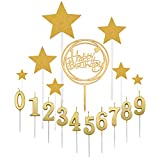 Yoption 15 Pieces Birthday Numeral Candles, Gold Numbers 0-9 Cake Candles, 4pcs Glitter Star and Brithday Cake Toppers Decoration for Birthday Party Favor