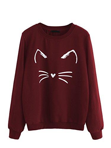 Romwe Women's Cat Print Sweatshirt Long Sleeve Loose Pullover Shirt Burgundy M