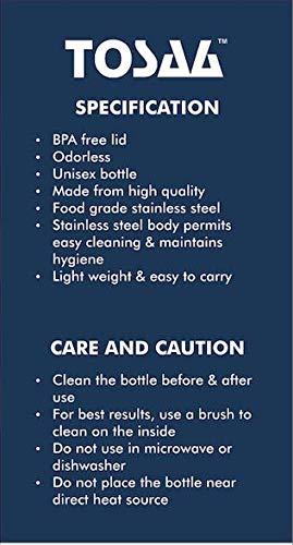 Tosaa Single Walled Stainless Steel Fridge Leak Proof Water Bottle Slim, 500 ml