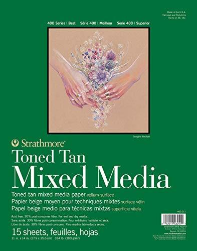 "Strathmore Toned Mixed Media Paper - Toned Tan 11""X14""-15 Sheets"