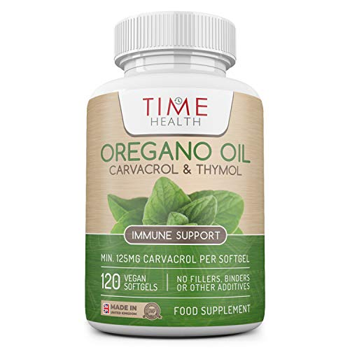 Oregano Oil - 120 Softgels - Vegan & Carrageenan-Free - 125mg Carvacrol per Softgel - Contains Thymol - Supports Microbiome & Immunity - UK Made - Zero Additives (120 Softgel Bottle)