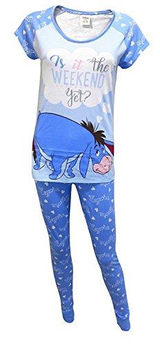 Juego de pijama de 2 piezas 100% algodón, para mujer, Eeyore Is It The Weekend, tamaño mediano