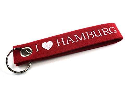City Souvenir Shop Filz-Schlüsselanhänger I Love Hamburg, rot