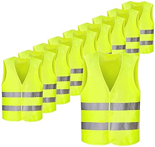 spaire Gilet di Sicurezza 10 Pezzi, Giubbotto Fluorescente ad Alta visibilità, Gilet per Evitare Incidenti, Ideale per Bici, Strisce Riflettente 5cm, Gilet Antinfortunistici Lavabile, Giallo