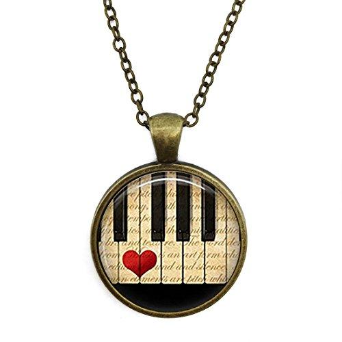 JEANCZ Silver Necklace Retro Music Jewelry Piano Keyboard Musicians Special Design Glass Cabochon Dome Jewelry