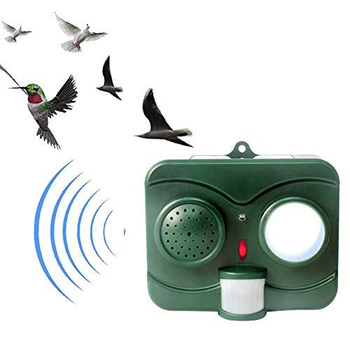 Repelente De Animales Repelente De Pájaros Y Murciélagos Con Energía Solar, Con Sensor De Movimiento PIR Imitación De Sonido Para Jardín Patio Campo Tierra De Cultivo,Verde