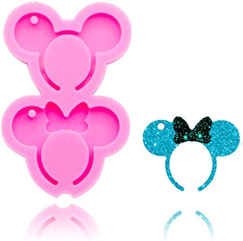 Mouse Headband Silicone Mold, 2pcs different size of Keychain Silicone Resin Mold with Hole for DIY Cupcake Ice Cube Candy Fondant Mold Jelly Shots Handmade Ice Cream Pudding Desserts Crystal Paste