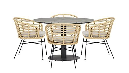 ENVY Gartenmöbel-Set für 4 Personen | Runder Gartentisch in grauem Polywood, Durchmesser 110 cm + 4 Stühle in Bambusoptik, einschl. Kissen