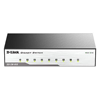 D-Link Ethernet Switch, 8 Port Unmanaged Gigabit Metal Fanless Desktop Plug n Play (GO-SW-8GE)