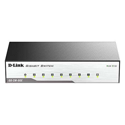 DLink Ethernet Switch 8 Port Unmanaged Gigabit Metal Fanless Desktop Plug n Play GOSW8GE