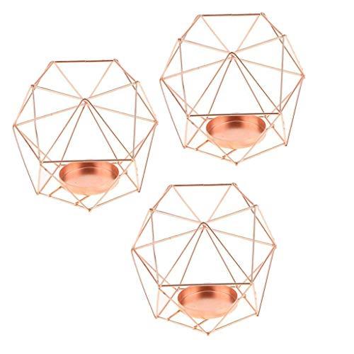 FLAMEER 3pcs 3D Geometrie Hochzeit Kerzenhalter Teelichthalter Teelicht Kerzen Halter, Rose Gold