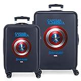 Marvel Los Vengadores Sky Avengers Juego de maletas Azul 55/68 cms Rígida ABS Cierre combinación 104L 4 Ruedas Dobles Equipaje de Mano