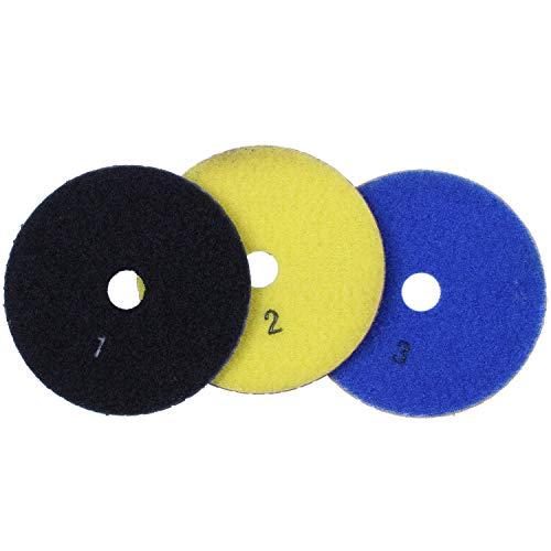 Kirmax 3 Piezas 100 Mm Diamante Flexible Almohadillas para Pulir Húmedas y Secas Pulidor de Piso de Pasos para Baldosas de Mármol