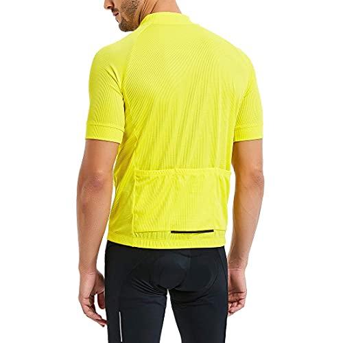CATENA Men's Cycling Jersey Short Sleeve Shirt Running Top Moisture Wicking Workout Sports T-Shirt Yellow