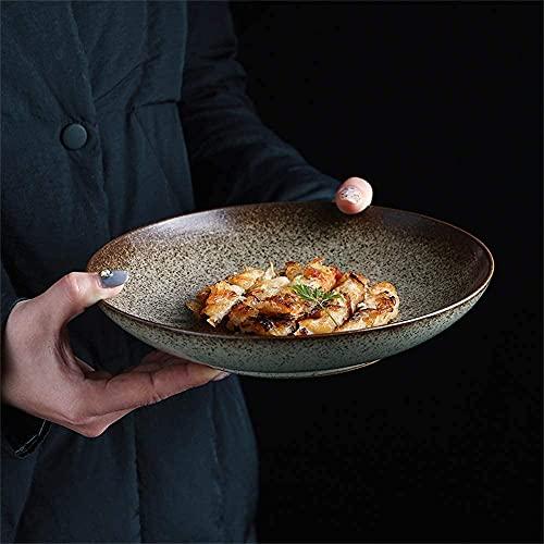 ZFB8B Cuencos y tazones Retro Steak Pasta Profundo Placa de Desayuno Sopa Creativa Ramen Fideos Cuenco Fruta Ensalada Tazón Sirviendo Tazón Cerámica Vajilla 8.2 Pulgadas Cuencos para Mezclar