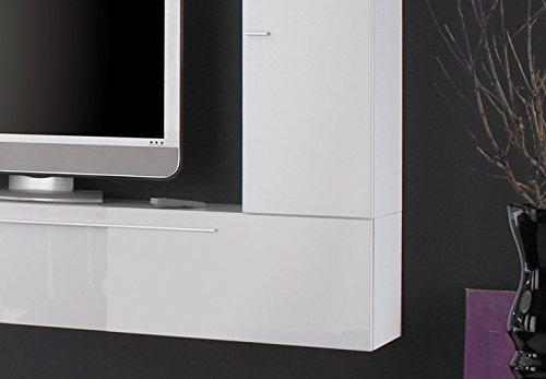 Wohnwand PRIMO A TV Anbauwand weiß und schwarz Hochglanz lackiert - 4