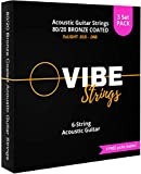 Vibe Strings - Acoustic Guitar Strings, 80/20 Coated, ExLight .010-.048 .011-.050, 3 Sets