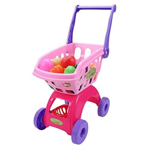Simulación Mini Carrito De Compras Juego De rol Cesta De La Compra De Juguete con Frutas Y Verduras Supermercado Juguetes Educativos 25PCS,Rosado
