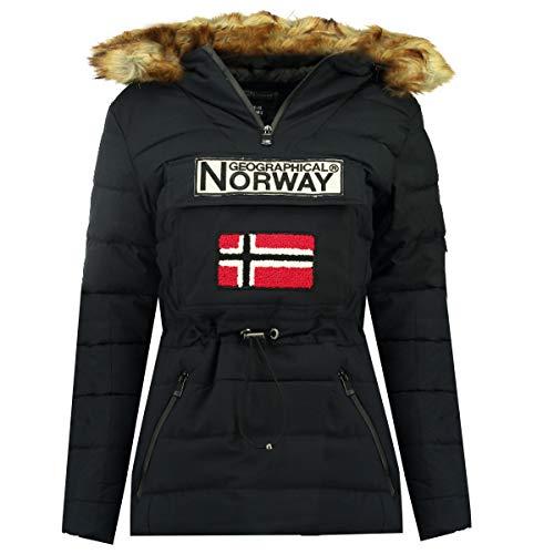 Geographical Norway Damen Winterjacke Belinda Parka Jacke Schlupfjacke Skijacke Kapuze Webpelz, Navy, Gr:L