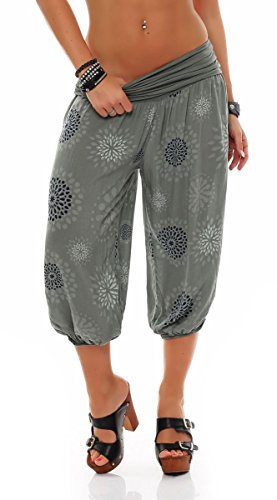 Malito Damen Capri Hose mit Print | Haremshose zum Tanzen | Pumphose zum Chillen - Freizeithose 7182 (Oliv)