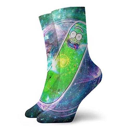QUEMIN Weihnachts-Erntedank-Gurke Rick im Weltraum Rick & Morty Flower Of Life-Socken Klassischer Freizeitsport Kurze Socken 30 cm Geeignet für Männer Frauen Geschenksocken