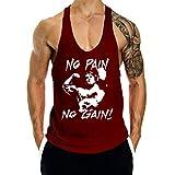 GymLeader Men's Gym Muscle Bodybuilding Stringer Tank Tops Y Back Workout T-Shirt, Wine Red, X-Large