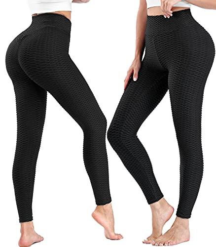 Tmani Tik Tok Leggings Butt Lift, Gym Leggings Womens High Waist Yoga Pants Tummy Control, Scrunch Honeycomb Leggings Anti Cellulite Leggings for Workouts Running Tights Women Gifts (a pair of pants)