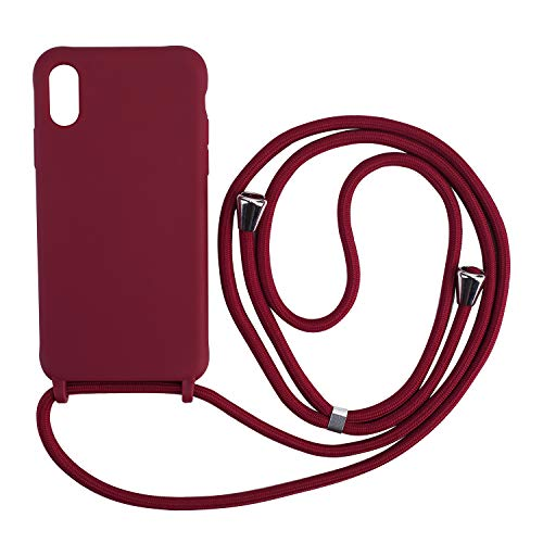 Ququcheng Funda Compatible con iPhone X/XS,Ajustable Collar Correa de Cuello Cordón Cuerda Carcasa TPU Bumper Silicona Skin Caso para iPhone X/XS-Rojo