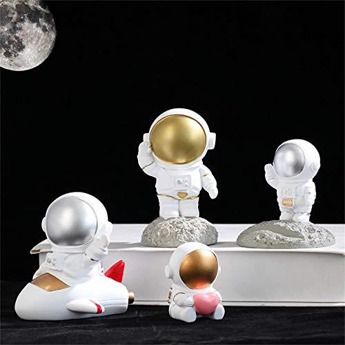 5 estatuas de resina de escultura de astronauta pintadas a mano, 3.75 pulgadas, estatuas de resina para decoración del hogar, oficina, escritorio, estantería para decoración de pasteles al aire libre