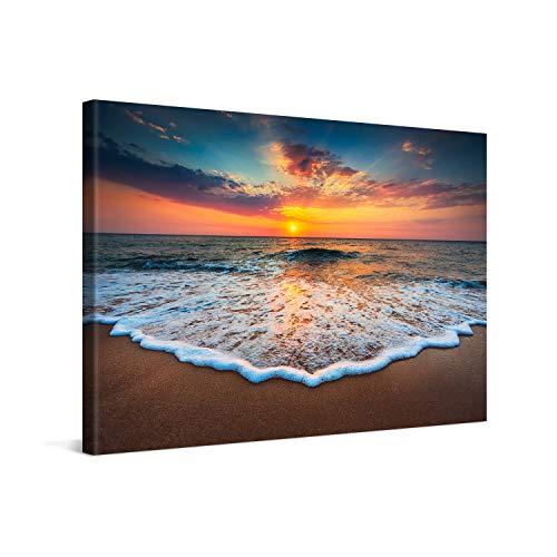 PICANOVA – Quadro su Tela Sea Sunset 120x80cm – Stampa Incorniciata con Spessore di 2cm Altre Dimensioni Disponibili Decorazione Moderna – Collezione Spiagge