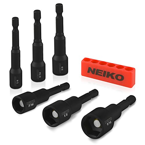 Neiko 10190A Impact Ready Magnetic Nut Driver Bit Set, 6Piece CR-V | SAE
