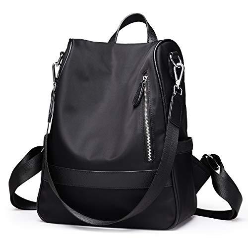 FOXER Damen Rucksack Geldbörse, schwarz, wasserdicht, Rucksack für Frauen, Nylon Schultaschen, Anti-Diebstahl Rucksack, Schultertaschen, Tagesrucksack
