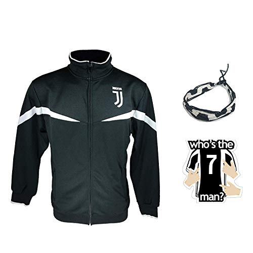 icon sports Compatible with juventus jacket track for boys youth and mens adults black white winter soccer new season official licensed set JV014 (L, Adults Jacket Black White)