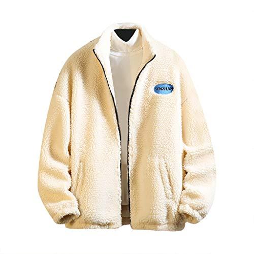 Fantastic Deal! Men's Jackets Fleece,Males Full Zip Loose Big and Tall Solid Winter Warm Coat Lamb C...