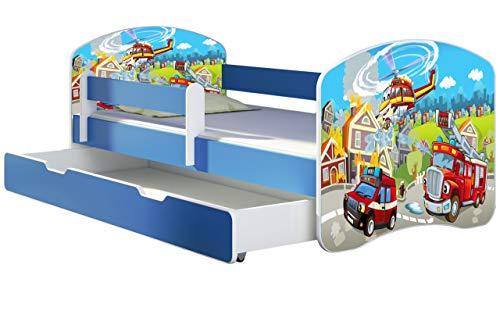 ACMA Kinderbett Jugendbett mit Einer Schublade und Matratze Blau mit Rausfallschutz Lattenrost II 140x70 160x80 180x80 (36 Feuerwehr, 180x80 + Bettkasten)