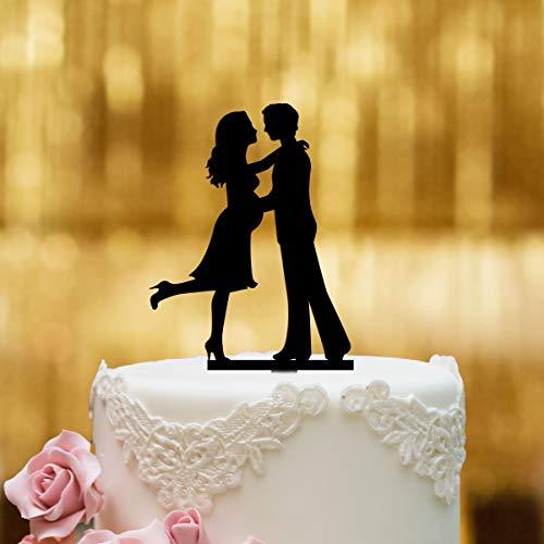 Cake Topper Babybauch - für die Hochzeitstorte - Acrylglas schwarz - XL - Tortenaufsatz, Kuchen, Deko, Tortenstecker, Tortenfigur, Hochzeit, Kuchanaufsatz, Kuchendeko, Mr Mrs, Schwanger