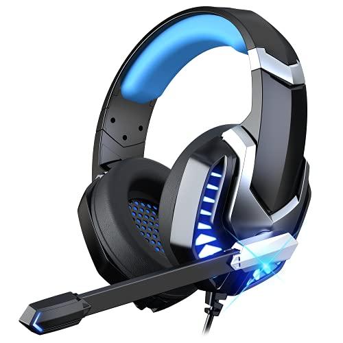 Auriculares Gaming para PS4 PS5 PC Xbox One Mac, Cascos Gaming Premium Estéreo con Microfóno reducción de Ruido, Jack Audio 3,5mm, Gaming Headset con Luz LED para Switch Computadora Azul