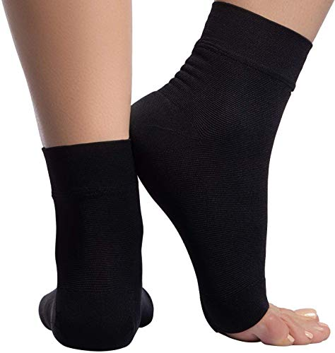 Ankle Compression Sleeve - 20-30mmhg Open Toe Сompression Socks for Swelling, Plantar Fasciitis, Sprain, Neuropathy - Nano Brace for Women and Men (Large, Black)