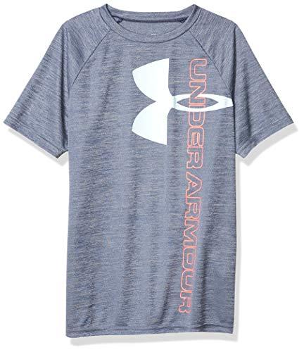 Under Armour Boys' Tech Split Logo Hybrid T-Shirt, Blue Ink (497)/Rift Blue, Youth Medium
