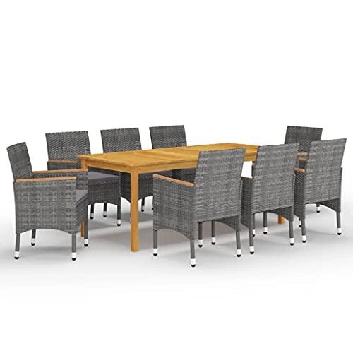 vidaXL - Conjunto de comedor de jardín, 9 piezas, mesa y sillas de comedor de patio, muebles de terraza, muebles de cena, exterior gris