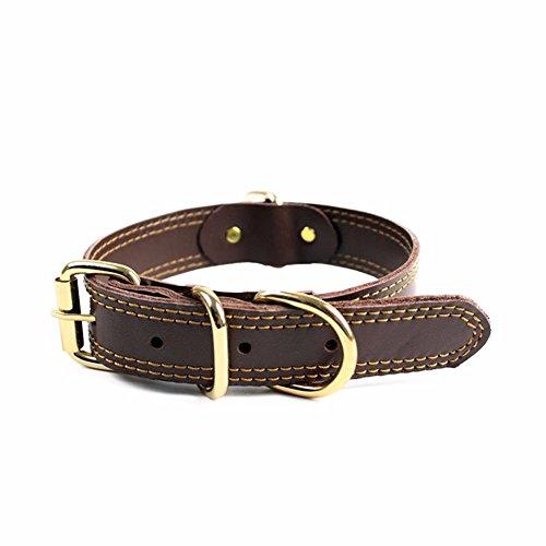 Pet Online Collar de perro grande ajustable cómoda y sencilla y collar de perro de tamaño mediano, de color marrón, M: 3 * 33-49cm.