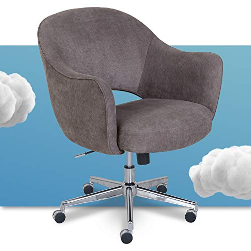 Serta Valetta Upholstered Home Office Desk Modern Swivel Accent Chair, Memory Foam Seating, Gray