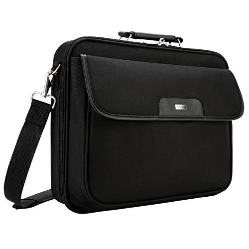 Targus Notepac Clamshell Case, elegante Laptoptasche 15.6 Zoll, hochwertiges Design dank Nylon & Koskin Material, Umhängetasche mit gut sortierter Aufteilung – Schwarz, CN01