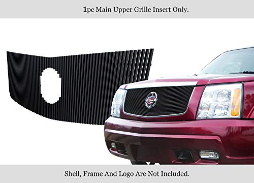 APS Compatible with Cadillac Escalade 2002-2006 EXT ESV with Logo Show Main Upper Stainless Steel Black 8x6 Horizontal Billet Grille Insert A65770J